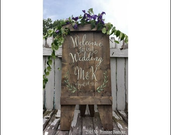 SANDWICH BOARD SIGN | A Frame Sign | Welcome Wedding Sign | Aged Wood | Easel Sign |  Rustic Sign | Free Standing Sign | Venue Sign