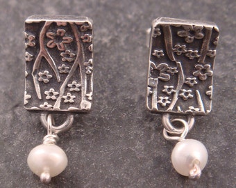 Cherry Blossom Post Earrings with Freshwater Pearl