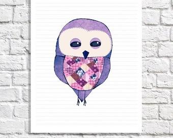 Owl Print Purple And Gray Wall Art Grey And Purple Nursery Art Patchwork Art Cute Owl Decor Nursery Animal Illustration Print Baby Owl Decor