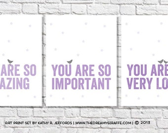 You Are So Loved Prints Baby Girl Bird Nursery Art Set of 3 Prints Purple & Grey Wall Art Little Girl Quote Love Bird Theme Room Decor Idea