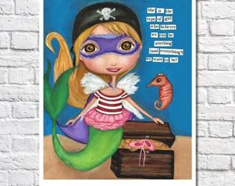 Art For Girls Room Little Girl Pirate Print Girl Superhero Nursery Cute Fairy Decor Ballerina Wall Art Mermaid Girl Room Inspirational Quote