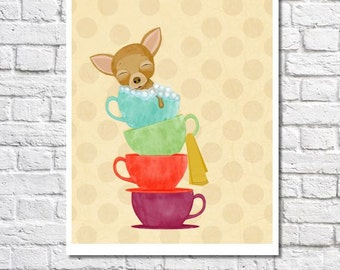 Whimsical Bathroom Art Teacup Chihuahua Print Dog Artwork Bubble Bath Illustration Colorful Wall Decor Cute Wall Art Kitchen Art Dog Picture