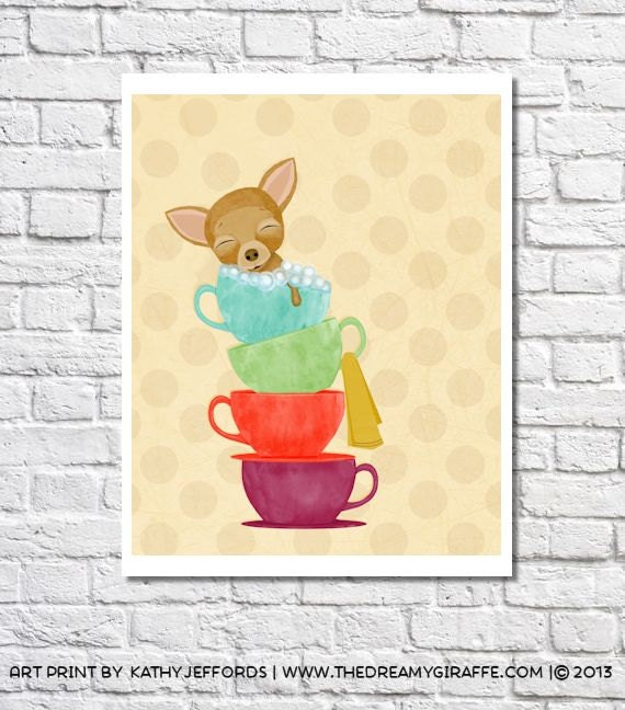 Whimsical Bathroom Art Teacup Chihuahua Print Dog Artwork