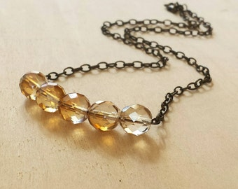 Crystal bead strand Necklace, Boho Chic Necklace, Bridesmaid Gift, Layering necklace, gift for her, gift for mom, gift for women