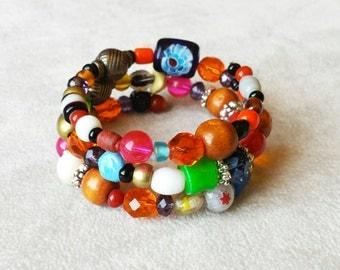 Bohemian Colorful Wrap Bracelet, multicolor stacking bangle, Gypsy Hippie bracelet, Bohemian Jewelry, Gypsy Jewelry, Gift for her,