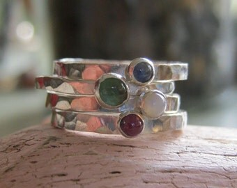 Mothers rings Birthstone stacking rings tiny stone bands - Birthday