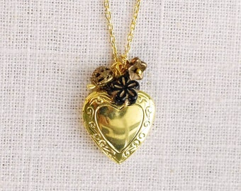 CLEARANCE . dark daisy bouquet (bits and pieces sale) // gold heart necklace . locket charm necklace . flower charm necklace