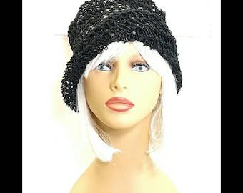 Black Crochet Hat Womens Hat, Summer Hat for Women, Crochet Beanie Hat, Black Hat, OMBRETTA Beanie Hat