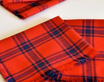 Table Linen Set / Red & Blue Plaid Linen Cotton Cloth Napkins / Set of 4 / Small Size