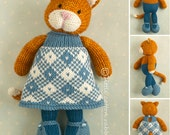 Knitted Toy knitting pattern for a girl cat with a plaid dress