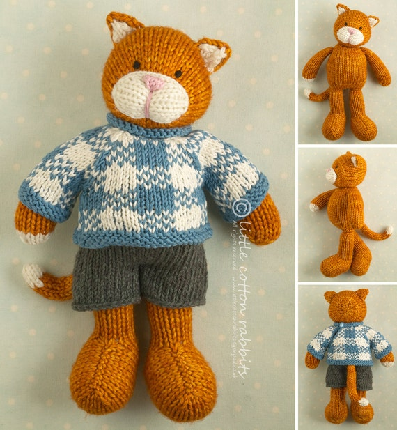 Toy knitting pattern for a boy cat with a plaid sweater and