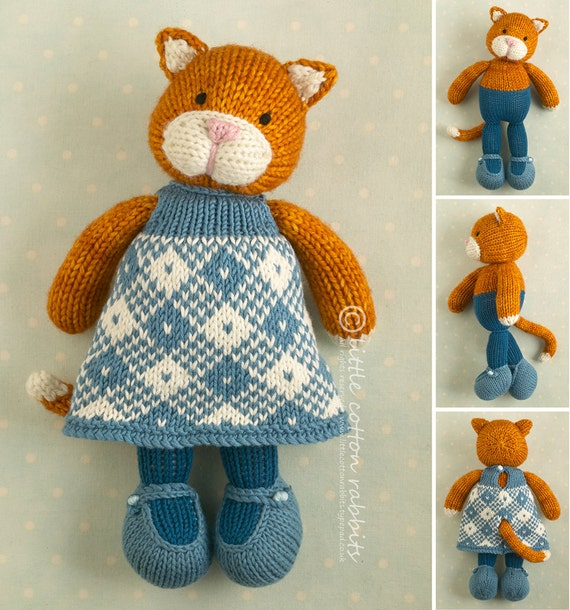 Knitting Pattern For A Toy Cat : Toy knitting pattern for a girl cat with a plaid dress