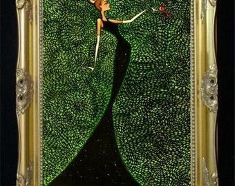 Elegant Woman Art Print, Chic Wall Art, Vintage Poster, Fashion Illustration, Bird Artwork, Glamorous Gift for Her, Boutique Salon, Shano