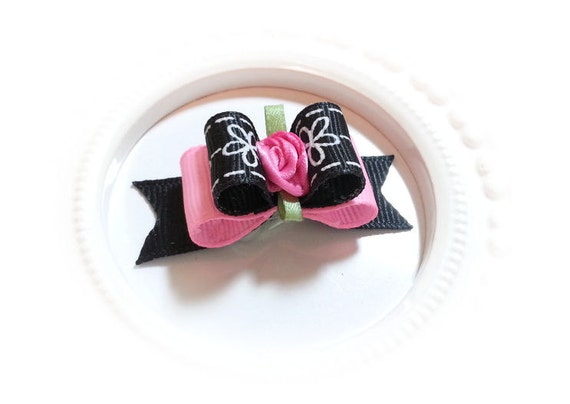 Girl Dog Bow,  Pink Floral Dog Bow, Puppy Dog Bow, Grosgrain Ribbon, Pink Satin Flower