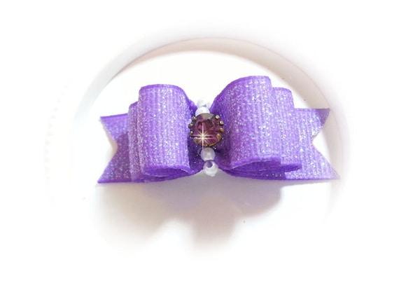 Purple Dog Bow, Fancy Pet Bow, Dog Grooming Bow, Purple Pet Hair Bow, Glitter Ribbon