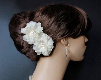 Wedding Hair Flowers Set, Wedding Accessories, Wedding Headpiece, Bridal Accessories, Ivory Hair Flower - Sparkling Flirt Mini's