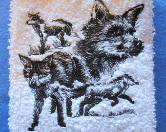 Sketch of 4 Foxes On White  Kitchen Towel Machine Embroidery