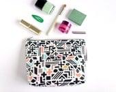 Colour Pop Make Up Bag, hand drawn geometric pattern, make up bag with waterproof fabric pvc coated fabric, handmade bag