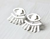 Eye Jewelry, Ear jackets, Evil Eye Earrings, sterling silver eye jewelry, ear cuff