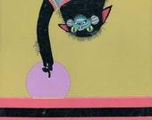 Cat & The Bird - Original Acrylic Art Painting