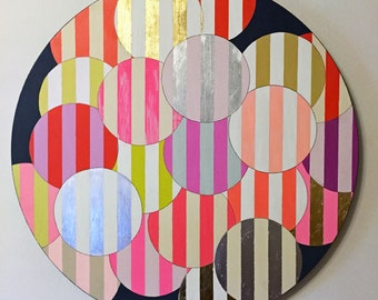 Variations - Original Round Acrylic Abstract Art Painting