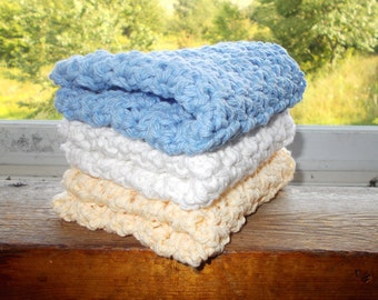 Set of 3 Crochet Dishcloths-Light Country