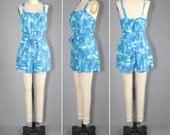 vintage swimsuit / 1960s / bathing suit / SERENE PALMS playsuit