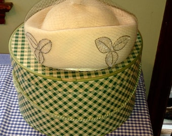 Vintage Cream Felt Hat,sequins, net and checkered hat box