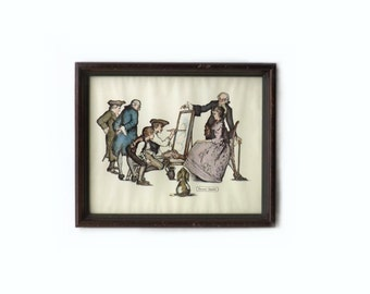 Wall Art Litho, Vintage Framed Print, Anthony Gruerio, Colonial People Scene