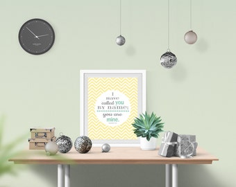 Yellow and grey nuetral nursery wall art printable INSTANT DOWNLOAD yellow chevron or dots & Bible verse - nuetral nursery decoration