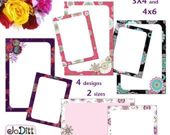 Floral Printable Journal Cards Scripture Memory Project Life Inspired 3x4 4x6 Note