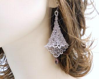 Dangle Drop Earrings, Wire Earrings, Amethyst Earrings, Wire Crochet Jewelry,  Fairy Bells, Lavender Beaded Earrings, Lace Earrings