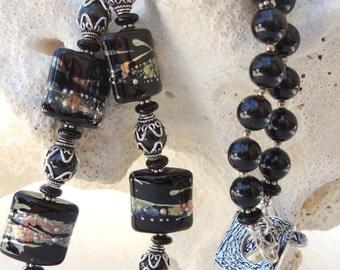 MICHELE Handmade Lampwork and Swarovski Glass Pearls Necklace Set SALE