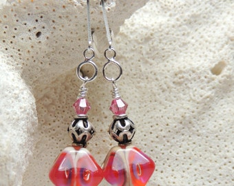 FUSCHIA GLORY Handmade Lampwork Bead Earrings