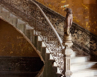 "Cuba Photography, Urban Decay, Urban Art, Architecture Art, Abandoned Building in Havana, Orange Rust, ""The Staircase"" Fine Art Print"
