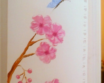Cherry Blossoms Growth Chart hand painted canvas personalized nursery pink brown