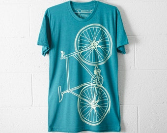 SALE Bike TSHIRT MEDIUM mens lightning fixie bicycle on evergreen tri-blend M