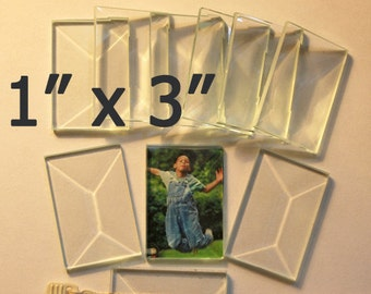 Long Stix 1 x 3 inch Clear Beveled Glass Flat On Back for Jewelry Solder Art. (Box of 30)  1 x 3 Perfect for Collage Pieces or Pendants