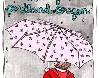 Portland Valentine - Postcards - Postcard Set - Portland Oregon Postcard - Portland Postcard - Sending Love from Portland