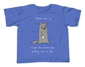 Wolves Never Cry Kids T-Shirt - Cute Funny Wolf TShirt - Youth and Toddler Sizes