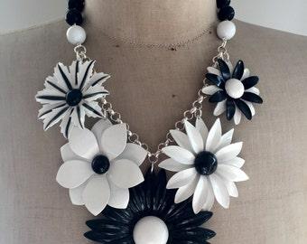 SALE Vintage Enamel Flower Brooch Statement  Necklace -   Black and white