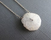 Snowflake. Solar Quartz Necklace, Sterling Silver Geode Jewelry, Quartz Slice, White Pendant