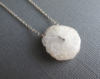 Snowflake. Solar Quartz Necklace, Sterling Silver Geode Jewelry, Quartz Slice, White Pendant