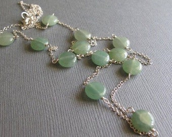 Green Aventurine Layering Necklace, Long Sterling Silver Dainty Necklace, Geometric Beaded Jewlery