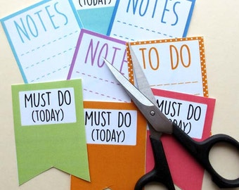 Printable Planner and Journal Stickers, Planner Notes and Must Do Today Printable for Journals and Planners