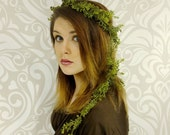 Green Fern Forest Elf Crown, Elven Headdress, Elven Forest Crown, Fern and Vine Headpiece, Forest Elf, Fairy Headpiece