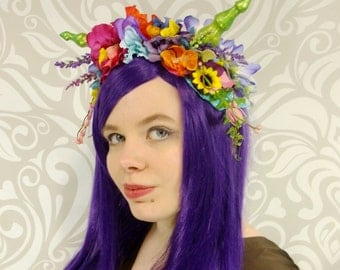 Costume Headdress, Floral Crown, Colorful Dragon Headpiece, Flower Crown, Dragon Horns, Faun Maenad Horned Headpiece, Lolita, Mori-Kei Fairy