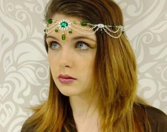 Forest Elf Silver Circlet, Bridal Head Piece, Bridal Hair, Celtic, Emerald Green Circlet, Elven Headpiece, Renaissance Crown, larp