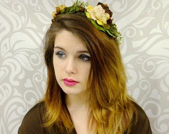 Woodland Headband, Flower Crown Headband, BOHO Headband,Bohemian Flower Crown, Floral Headpiece, Forest Elf Headband, Rustic Headband, Fairy