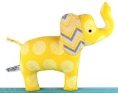 Elephant Cloth Softie Toy with Rattle - Yellow and Grey - Unisex New Baby Gift - Baby Safe - Toddler - Child Friendly - Soft Toy